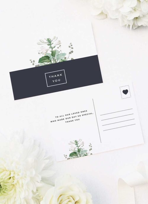 Green White Navy Modern Botanical Wedding Thank You Postcards Green White Navy Modern Botanical Wedding Invites