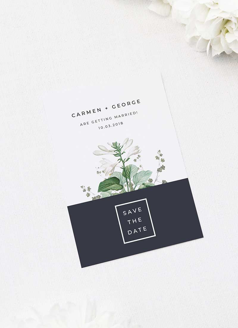 Green White Navy Modern Botanical Save the Dates Green White Navy Modern Botanical Wedding Invites