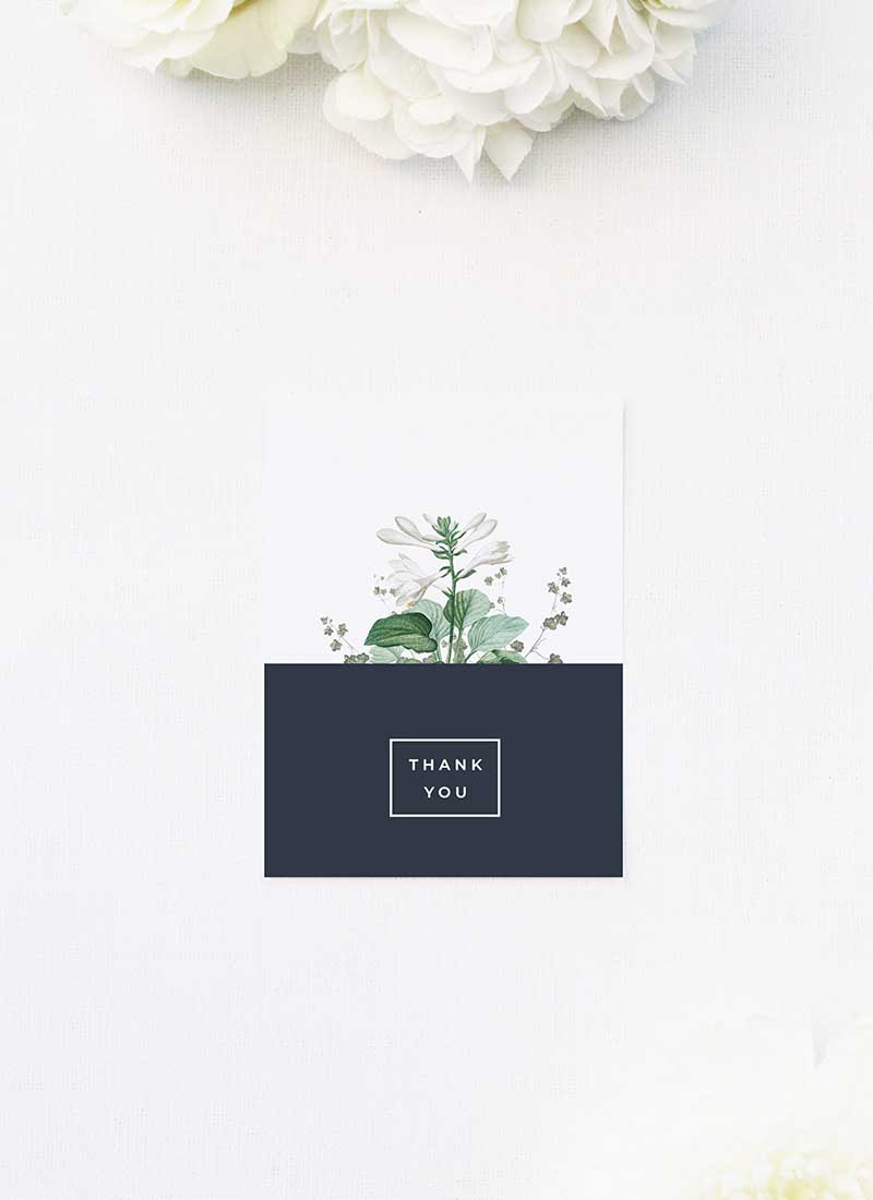 Green White Navy Modern Botanical Wedding Thank You Cards Green White Navy Modern Botanical Wedding Invites