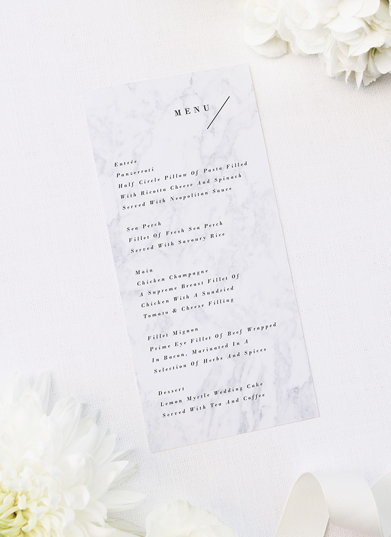 Modern Marble Wedding Menus Marble Rose Gold Floral Wedding Invitations hydrangea petals dark black moody geometric