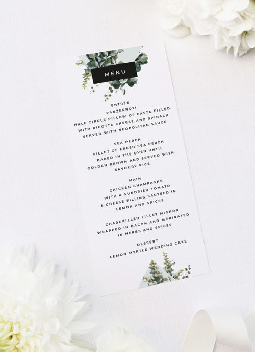 Natural Modern Chic Contemporary Greenery Botanical Wedding Menus Natural Modern Chic Contemporary Greenery Botanical Wedding Menus Natural Chic Green Modern Botanical Wedding Invitations