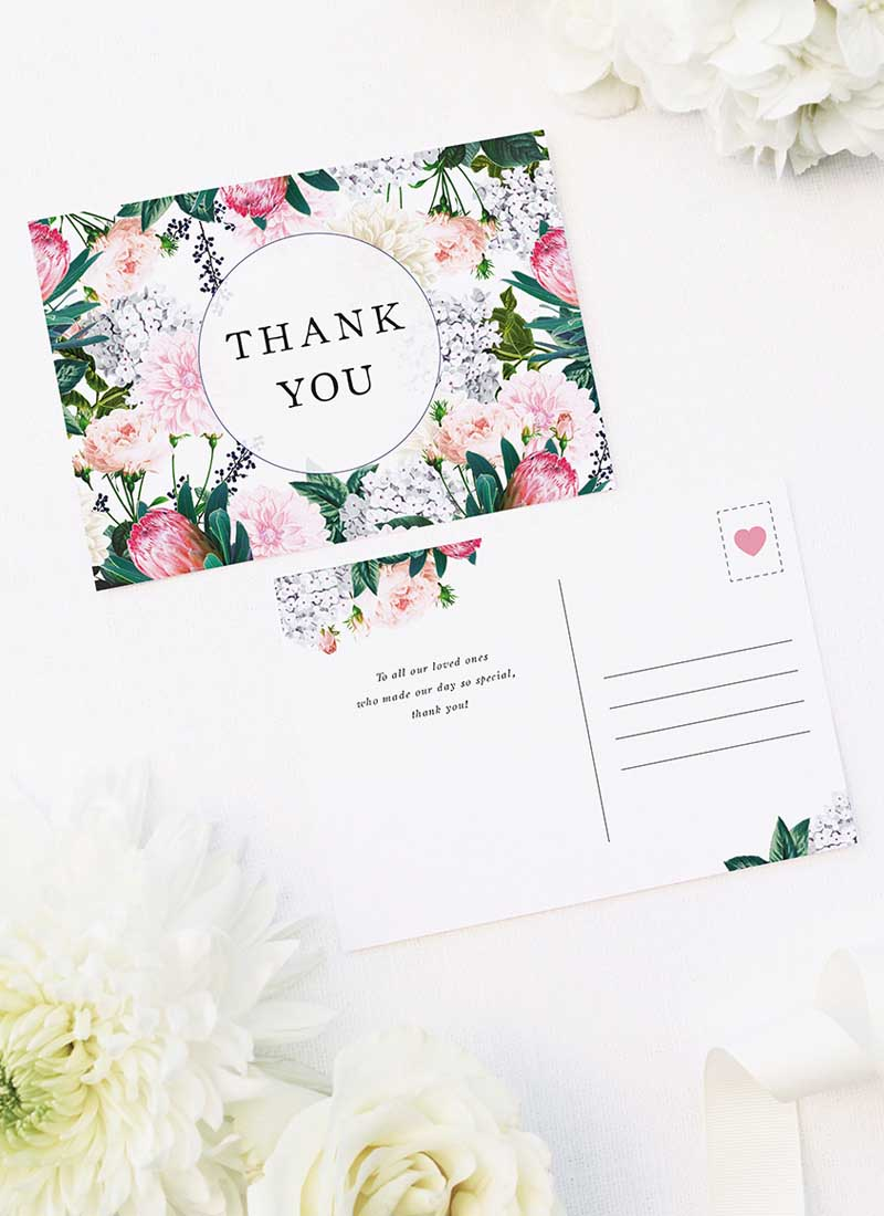 Pretty Protea Native Floral Wedding Thank You Postcards Native Floral Wedding Invitations - Pretty Protea
