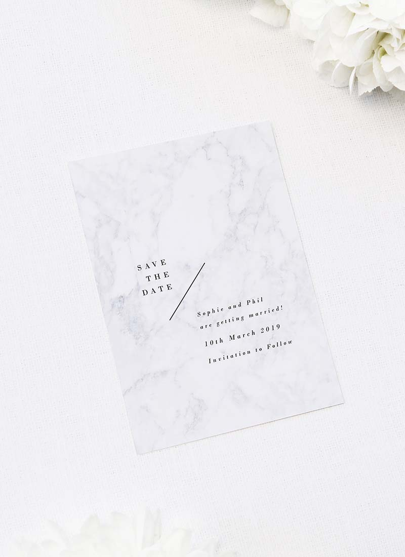 Marble Rose Gold Floral Save the Dates Marble Rose Gold Floral Wedding Invitations hydrangea petals dark black moody geometric