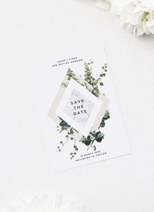 Marble Green Leaves Modern Botanical Save the Dates Marble Green Leaves Modern Botanical Wedding Invitations