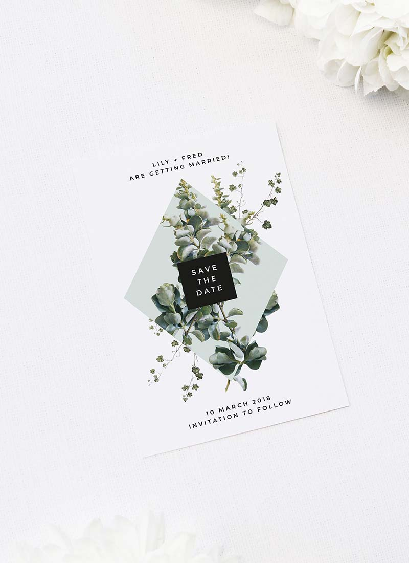 Natural Chic Green Modern Botanical Save the Dates Natural Chic Green Modern Botanical Wedding Invitations