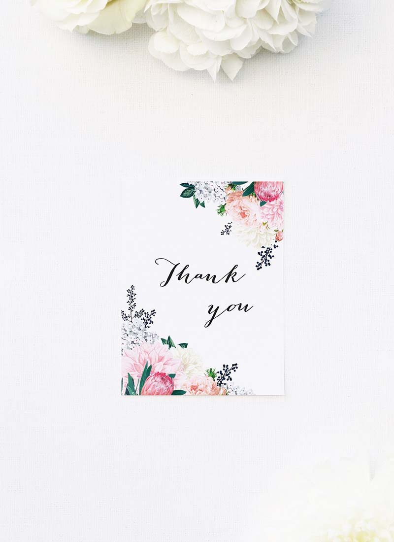 Pretty Protea Native Floral Wedding Thank You Cards Native Floral Wedding Invitations - Pretty Protea
