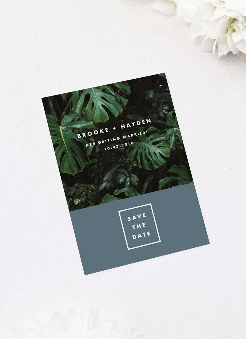 Modern Monstera Tropical Grey Blue Save the Dates Modern Monstera Tropical Leaves Wedding Invitations