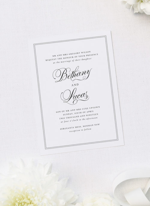 Timeless Classic Border Beautiful Calligraphy Wedding Invitations