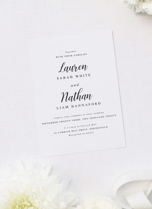 Simple Pretty Cursive Calligraphy Writing Wedding Invitations