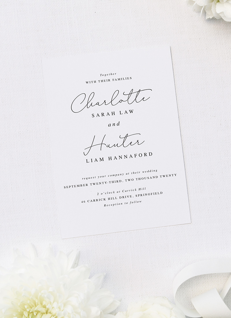 Elegant Thin Line Cursive Calligraphy Script Wedding Invitations