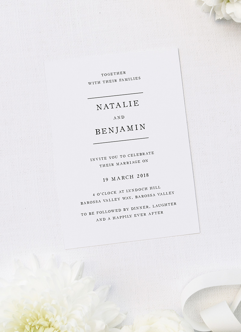 Simple Writing White Wedding Invitations