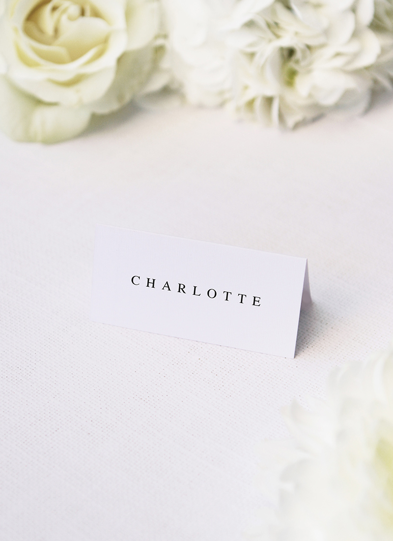 Simple Classic Elegant White Name Place Cards Simple Classic Elegant White Wedding Invitations