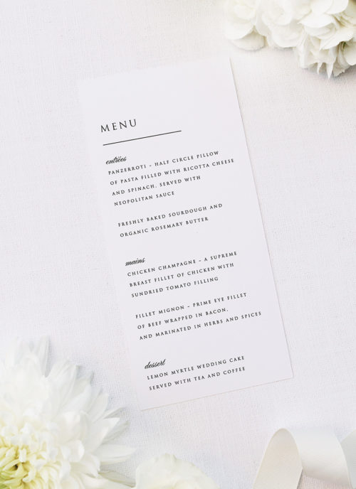 Simple Minimal Classic Elegant Writing Wedding Menus Simple Minimal Classic Elegant Writing Wedding Invitations