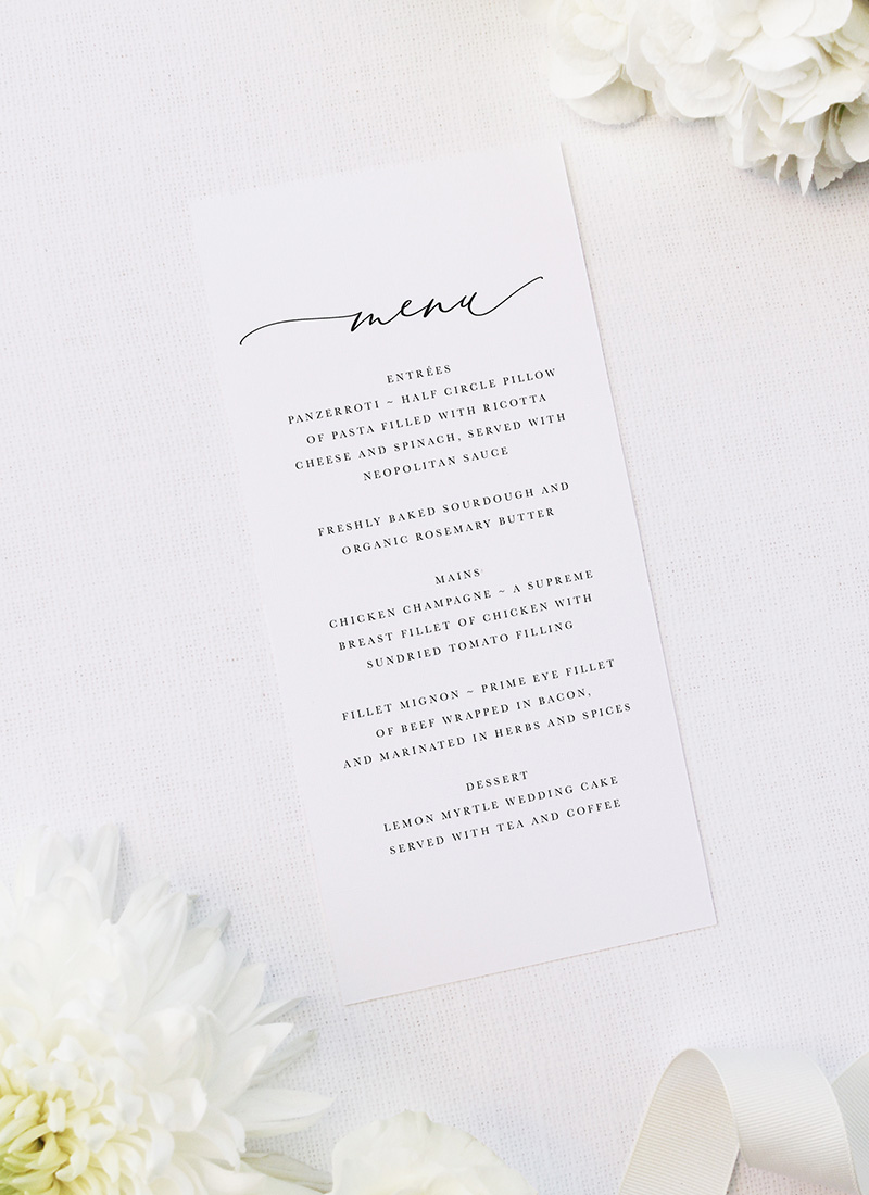 Romantic Calligraphy Wedding Menus Romantic Calligraphy Wedding Invitations