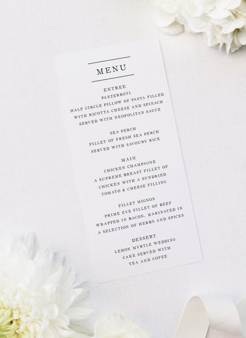 Simple Writing White Wedding Menus Simple Writing White Wedding Invitations
