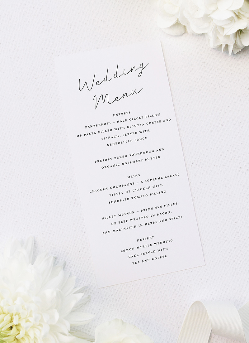 Hand Writing Cursive Script Wedding Menus Hand Writing Cursive Script Wedding Invitations