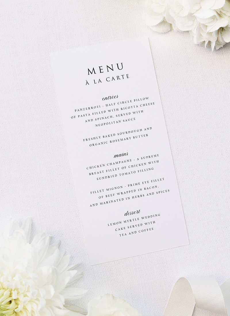 Simple Timeless Classy Wedding Menus Simple Timeless Classy Wedding Invitations