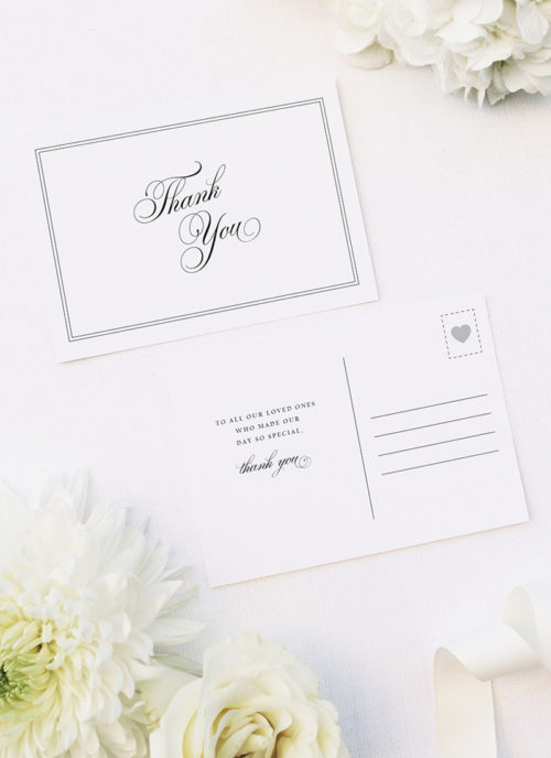 Timeless Classic Border Beautiful Calligraphy Wedding Thank You Postcards Timeless Classic Border Beautiful Calligraphy Wedding Invitations