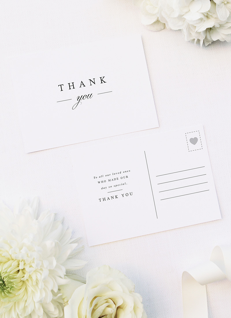 Sophisticated Classic Elegant Stylish Wedding Thank You Postcards Sophisticated Classic Elegant Stylish Wedding Invitations