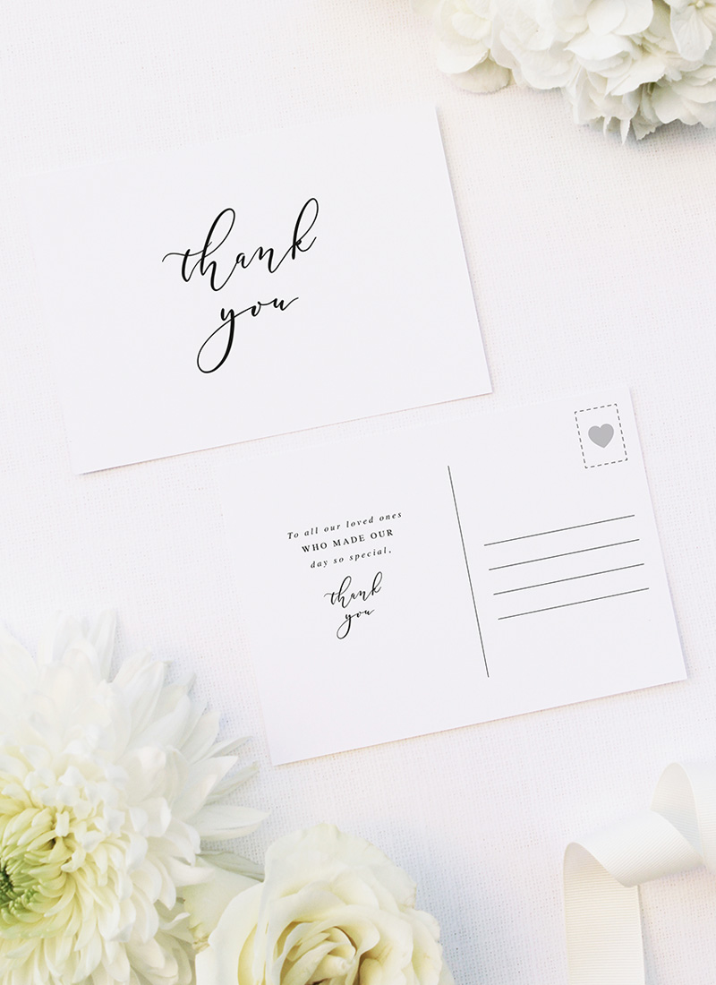 Simple Flowy Cursive Script Wedding Thank You Postcards Simple Flowy Cursive Script Wedding Invitations