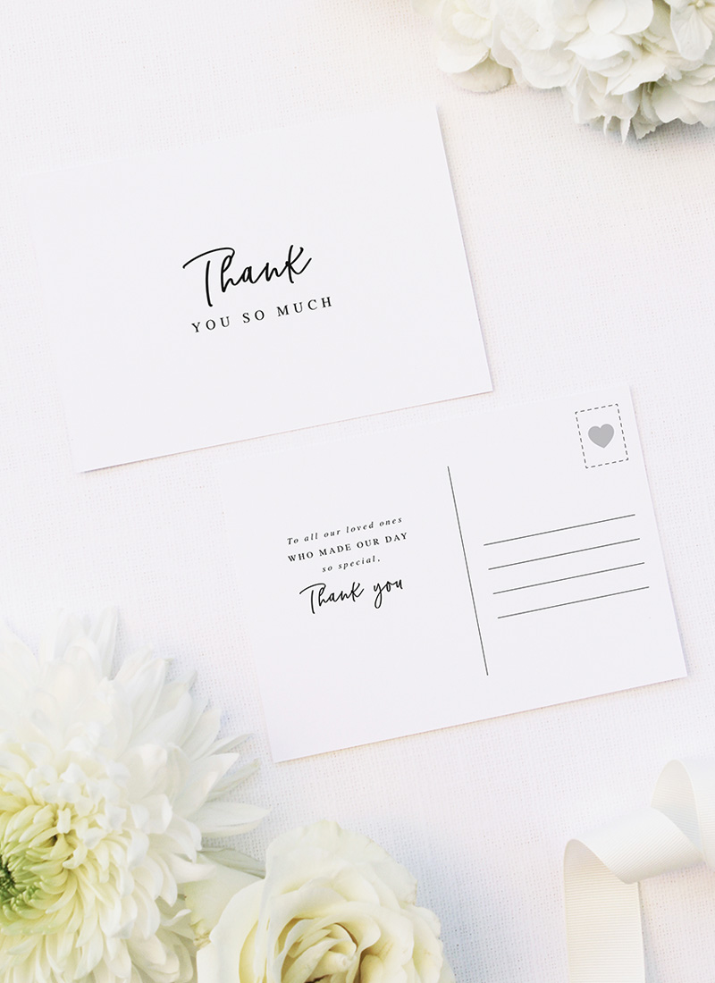 Elegant Cursive Hand Script Wedding Thank You Postcards Elegant Cursive Hand Script Wedding Invitations