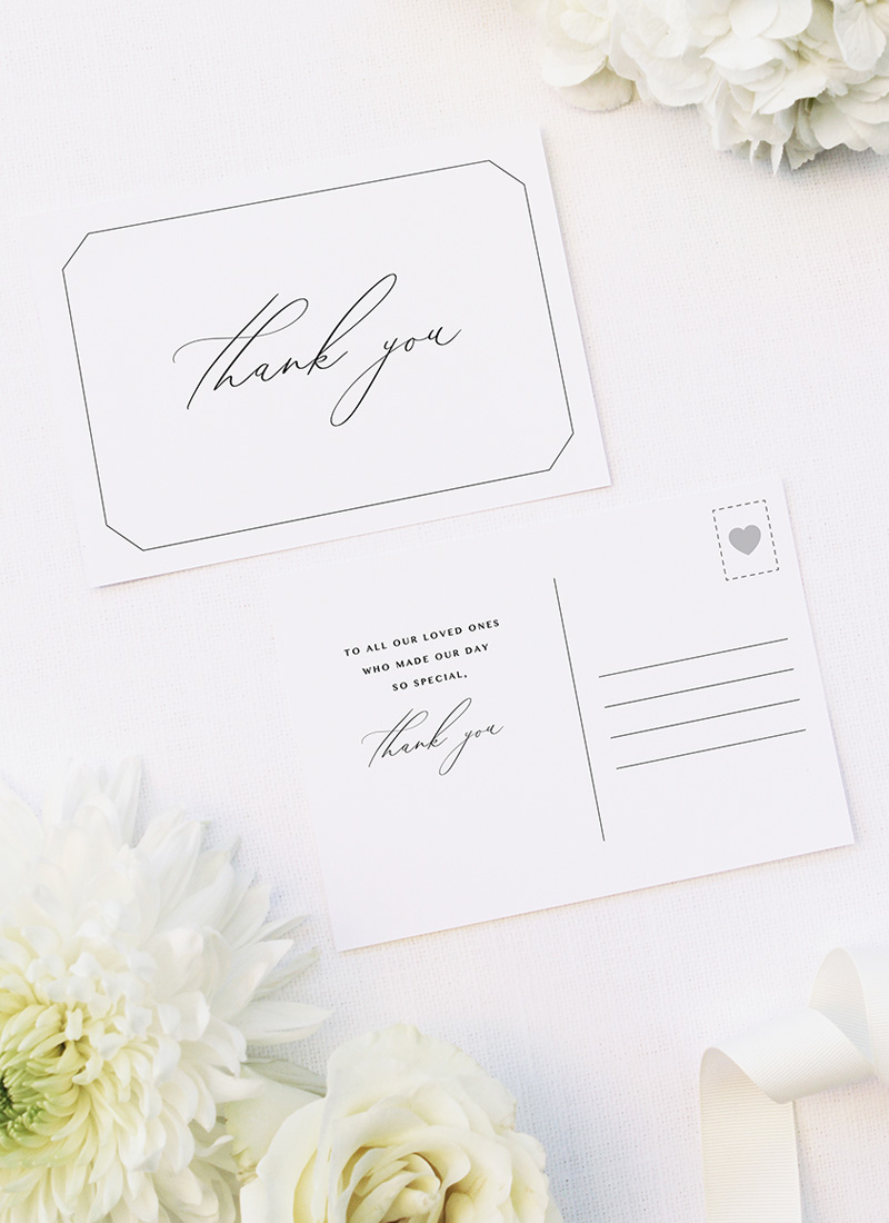 Decorative Border Elegant Calligraphy Wedding Thank You Postcards Decorative Border Elegant Calligraphy Cursive Wedding Invitations