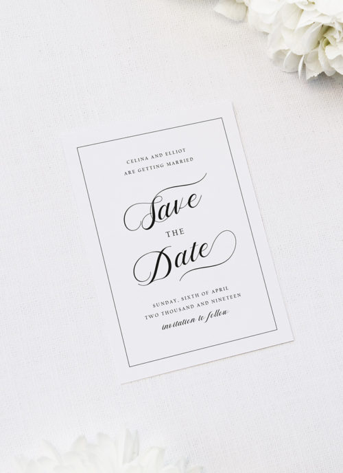 Elegant Calligraphy Flourish Border White Wedding Invitations