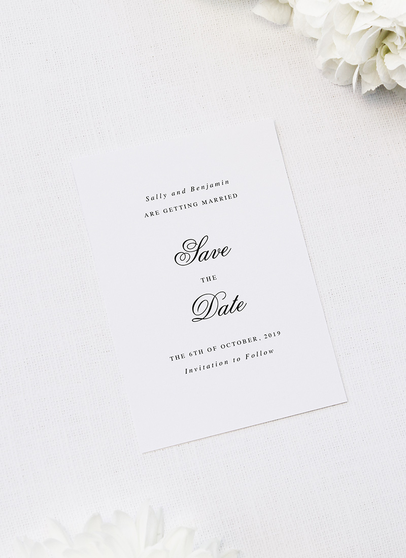 Elegant Cursive Script Save the Dates Classic Elegant Script Wedding Invitations