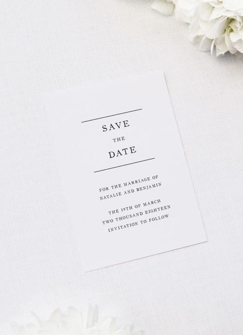 Simple Writing White Save the Dates Simple Writing White Wedding Invitations