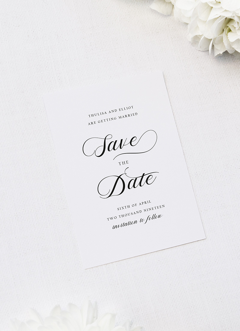 Elegant Cursive Flourish White Save the Dates Elegant Cursive Flourish White Wedding Invitations