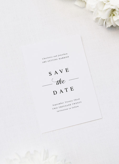 Simple Classic Elegant White Save the Dates Simple Classic Elegant White Wedding Invitations