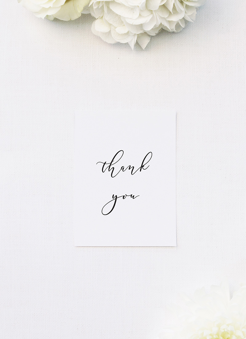 Simple Flowy Cursive Script Wedding Thank You Cards Simple Flowy Cursive Script Wedding Invitations