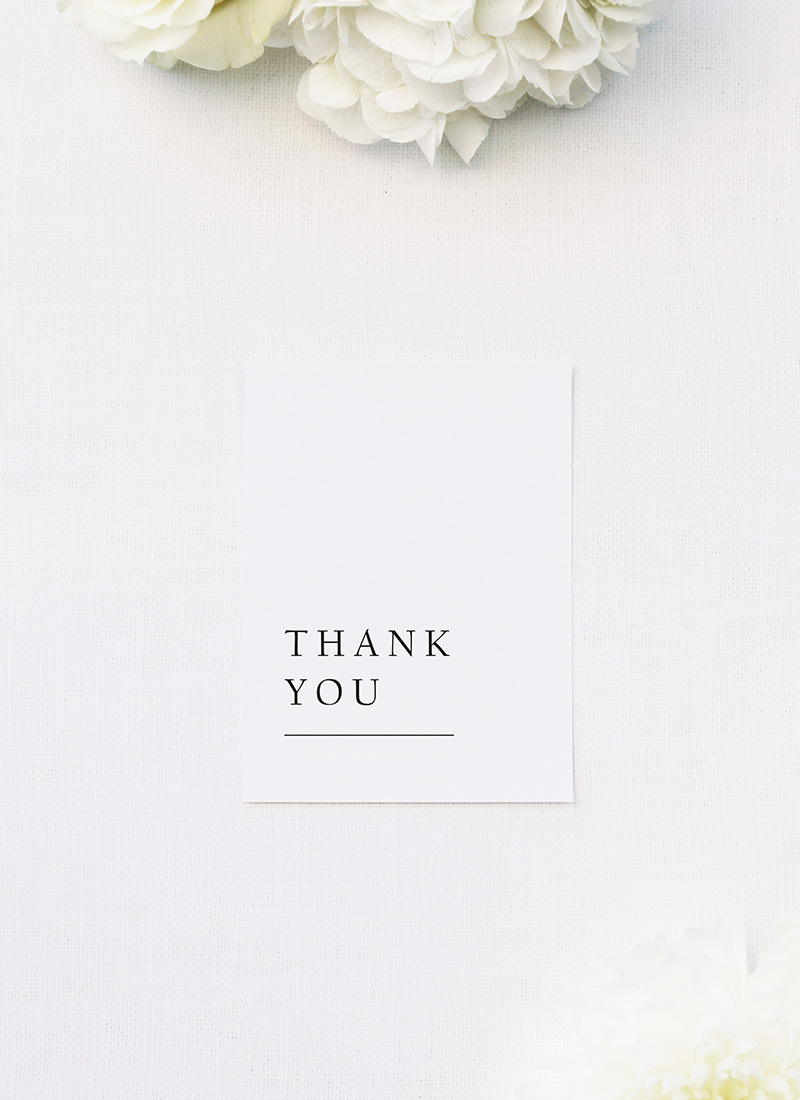 Large Classic Font White Wedding Thank You Cards Large Classic Font White Wedding Invitations