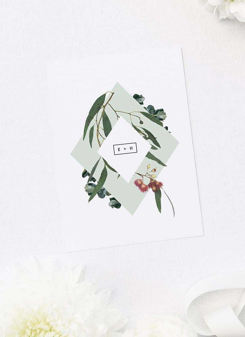 Eucalyptus Leaves Native Botanical Floral Wedding Invitations