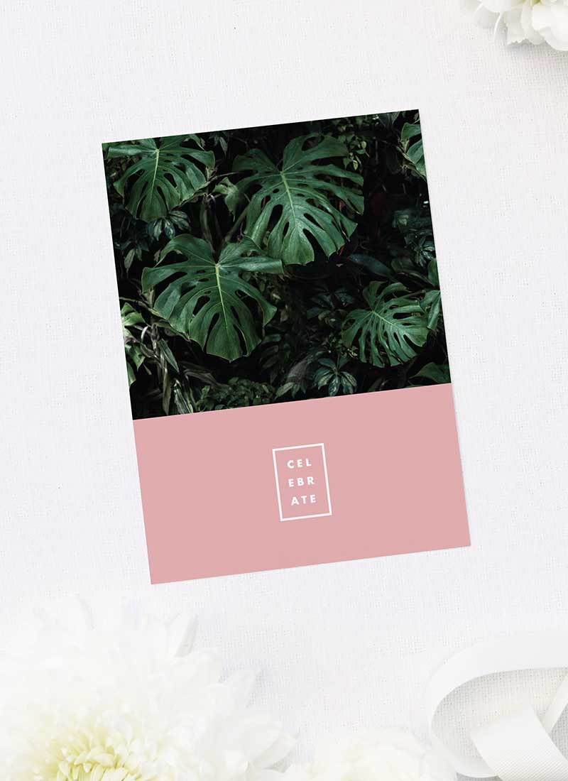 Modern Monstera Tropical Pink Wedding Thank You Cards Modern Monstera Tropical Leaves Pink Wedding Invitations