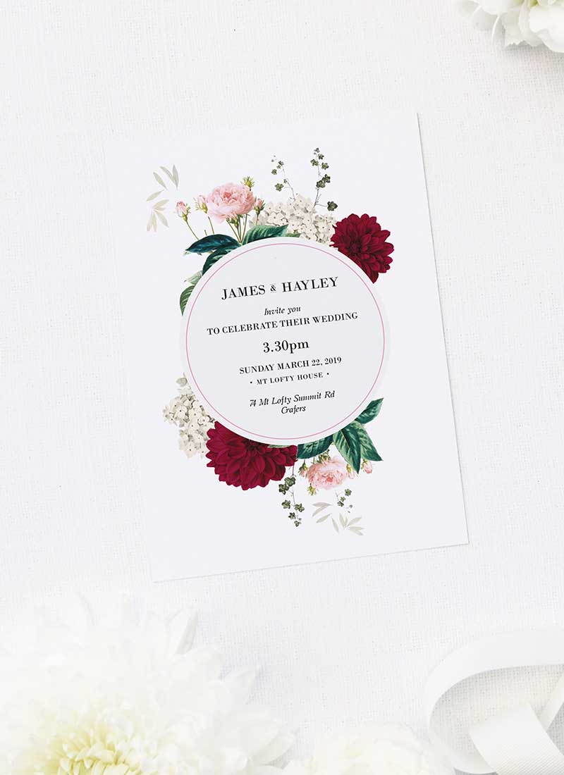 Floral Burgundy Wedding Invitations