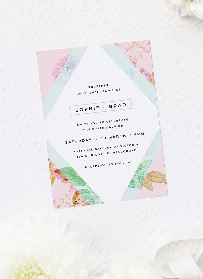 Modern Pastel Pink Blue Green Geometric Wedding Invitations
