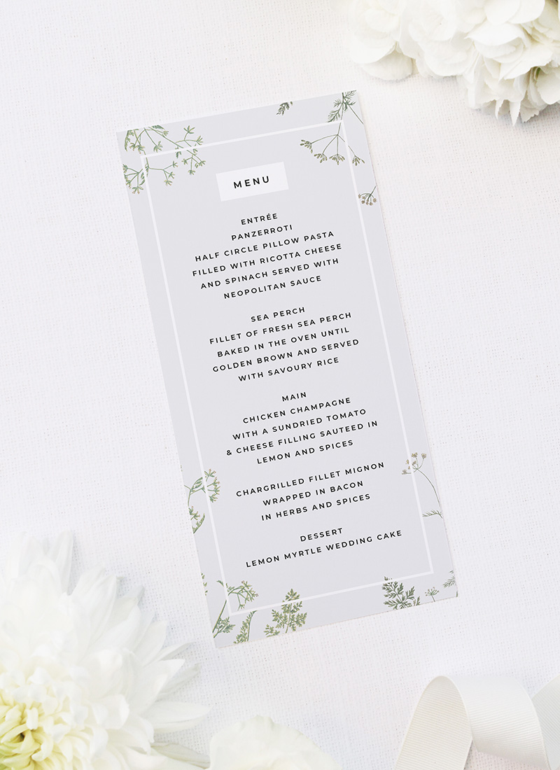 Pale Grey Modern Botanical Wedding Menus Pale Grey Modern Botanical Wedding Invites