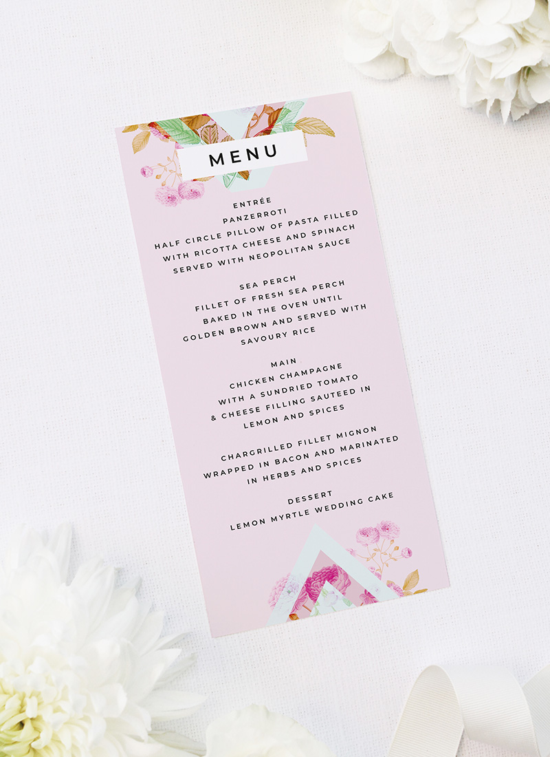 Modern Pastel Blooms Floral Geometric Wedding Menus Modern Pastel Pink Blue Green Geometric Wedding Invitations