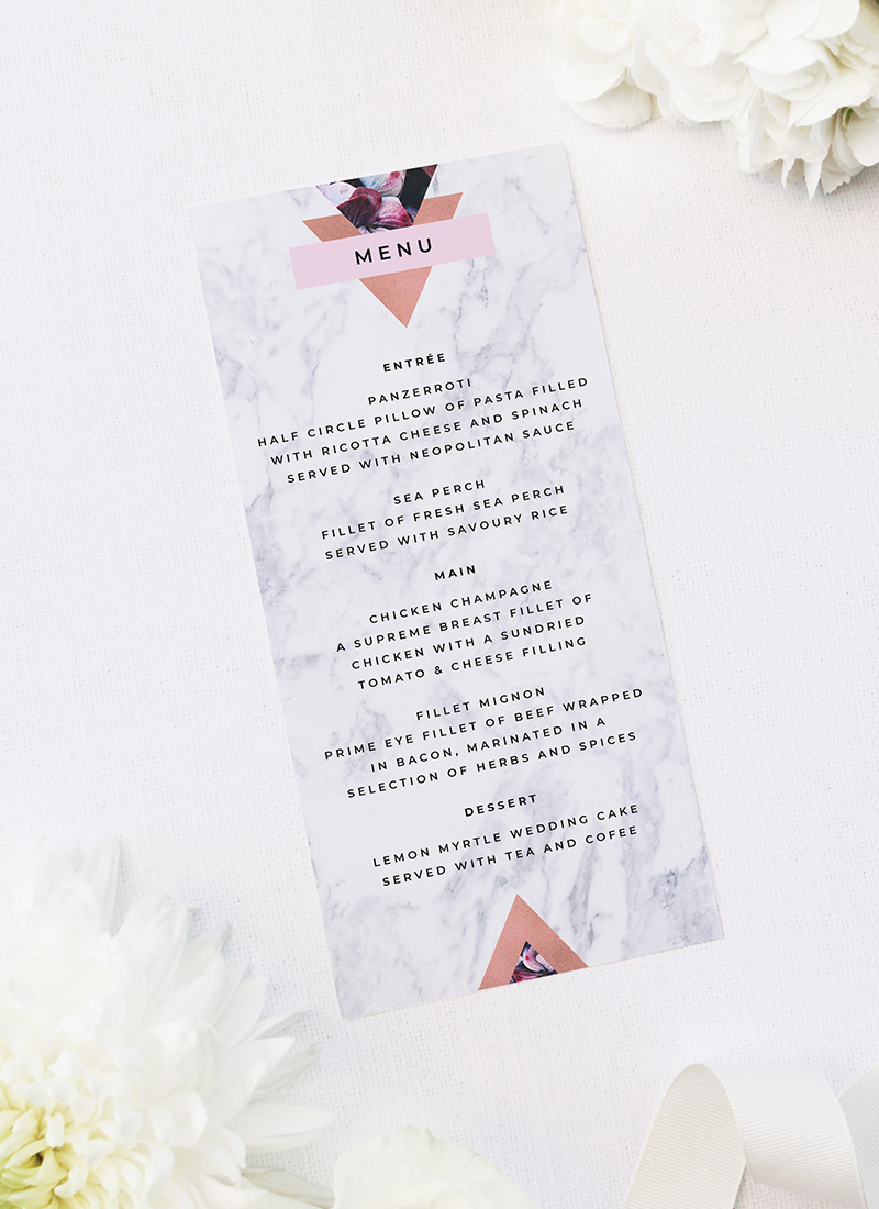 Pink Hydrangea Geometric Rose Gold Wedding Menus Pink Hydrangea Geometric Rose Gold Wedding Invitations