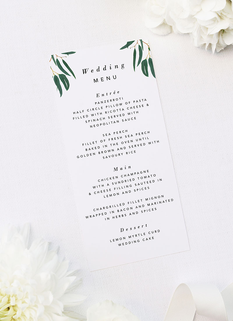 Simple Elegant Eucalyptus Wedding Menus Simple Elegant Eucalyptus Green Leaves Wedding Invitations