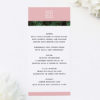 Modern Monstera Tropical Pink Wedding Menus Modern Monstera Tropical Leaves Pink Wedding Invitations