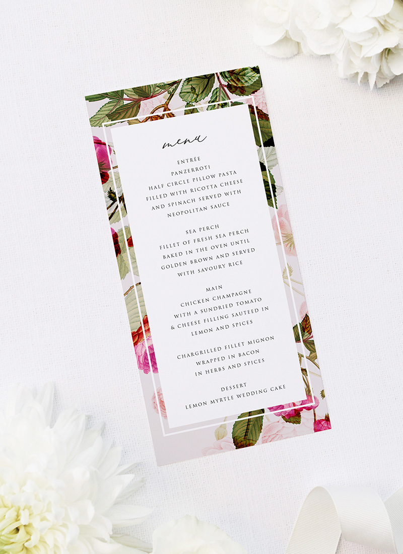Pink Green Modern Botanical Wedding Menus Pink Green Modern Botanical Wedding Invitations