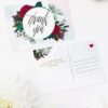 Red Burgundy Floral Wedding Thank You Postcards Ruby Red Rose Burgundy Floral Wedding Invitations