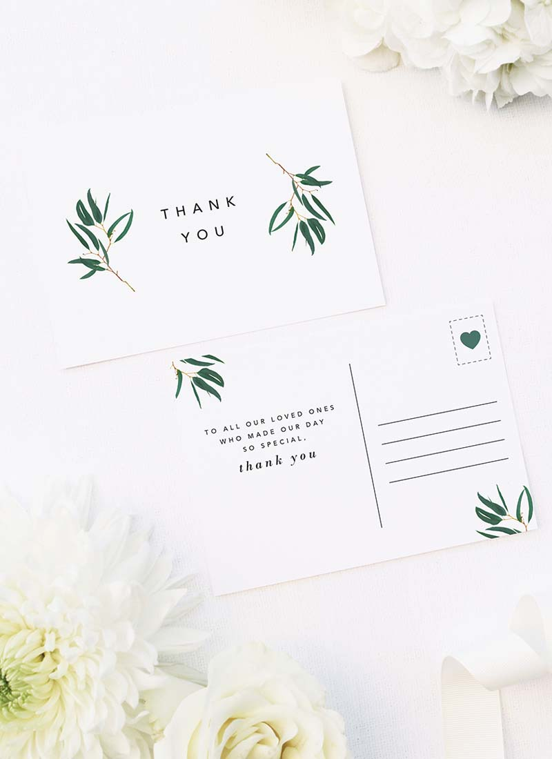 Simple Elegant Eucalyptus Wedding Thank You Postcards Simple Elegant Eucalyptus Green Leaves Wedding Invitations