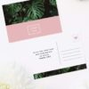 Modern Monstera Tropical Pink Wedding Thank You Postcards Modern Monstera Tropical Leaves Pink Wedding Invitations