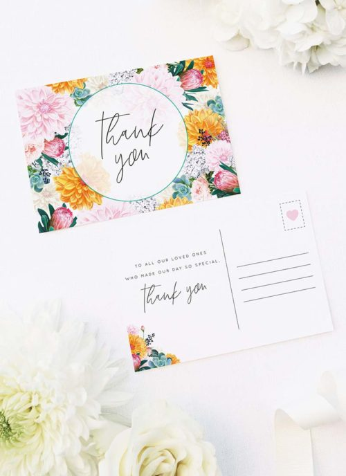 Boho Native Floral Succulent Wedding Thank You Postcards Boho Native Floral Succulent Botanical Bohemian Wedding Invitations
