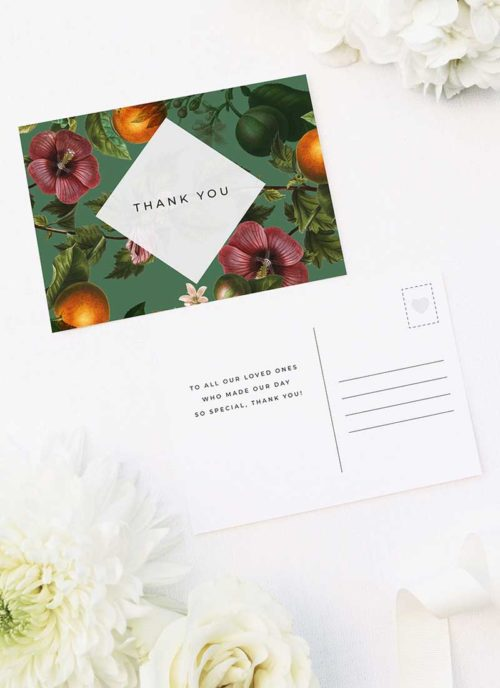 Lush Green Tropical Botanical Wedding Thank You Postcards Lush Green Tropical Botanical Wedding Invitations