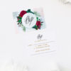 Ruby Red Rose Burgundy Floral Wedding Invitations