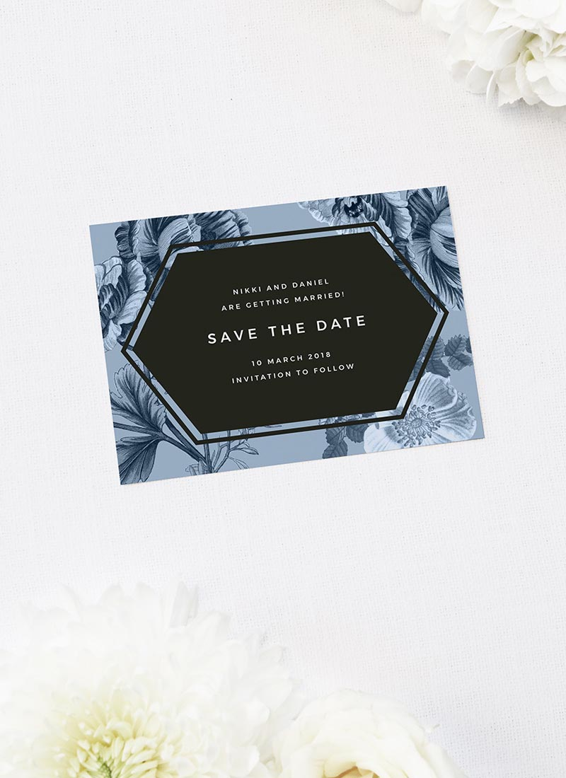 Modern Blue Botanical Floral Save the Dates Blue Botanical Floral Wedding Invitations